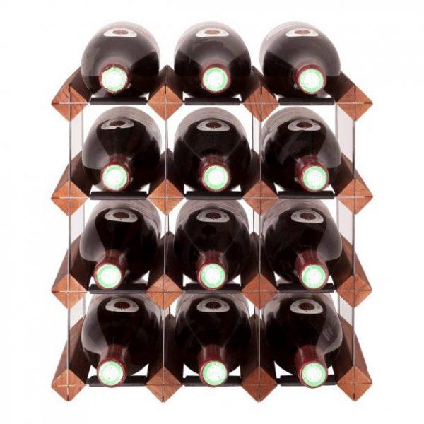 Mensolas 12 flasker mørkbejdset